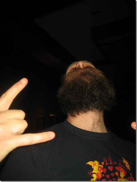 Rock on beard from below